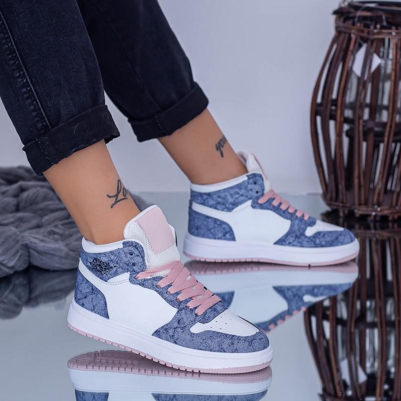 Pantofi Sport Dama JK15 Alb-Albastru-Roz Fashion