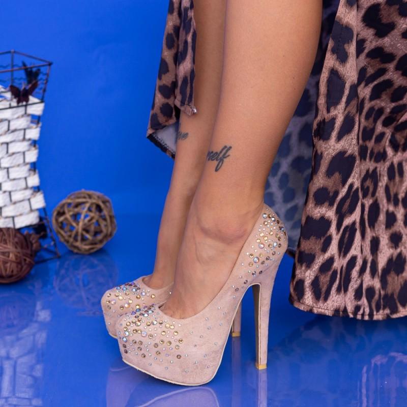 Pantofi cu Toc subtire si Platforma OL2500-1 Piersica Mei