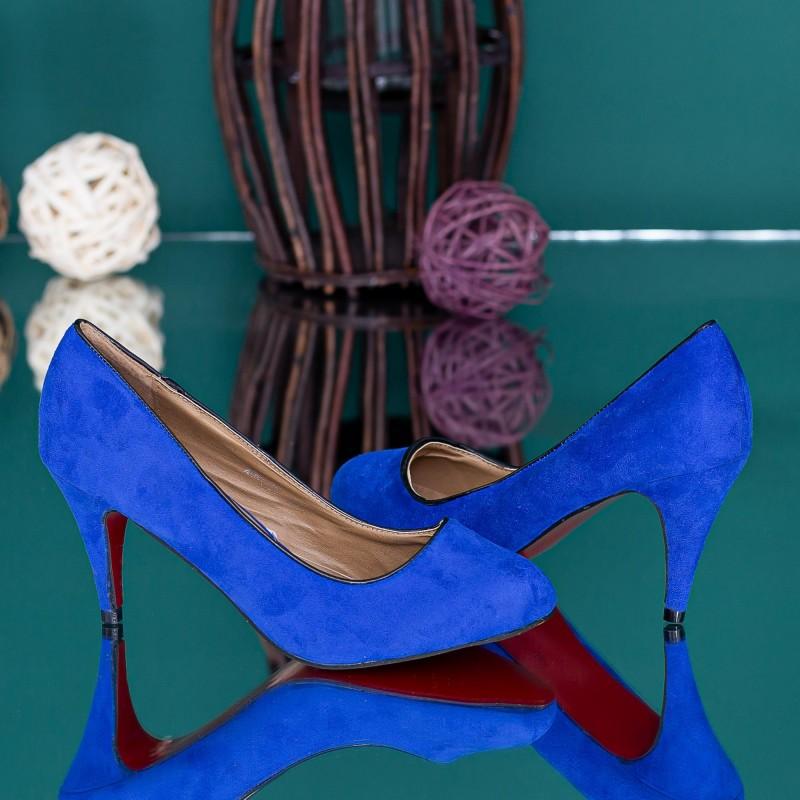 Pantofi cu Toc subtire M09 Albastru Mei