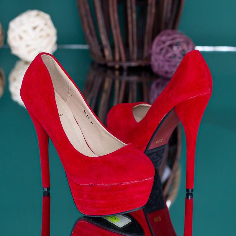 Pantofi cu Toc subtire si Platforma Y11 Rosu Mei