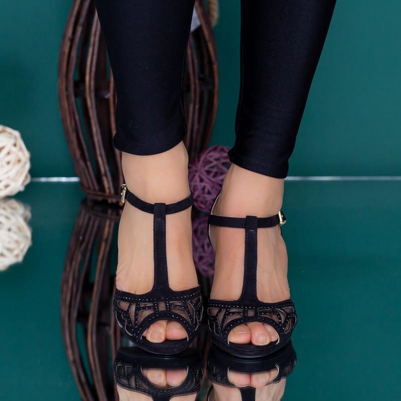 Sandale Dama cu Toc subtire WT62 Negru Mei