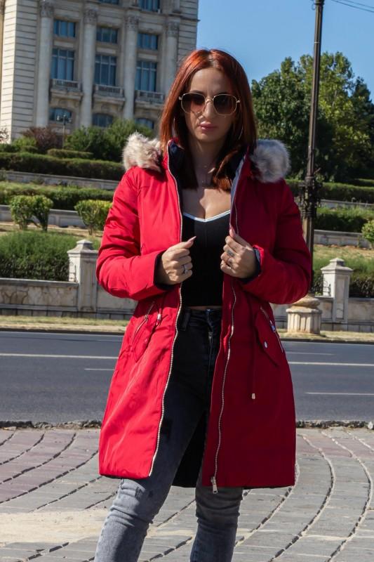 Geaca Dama F010 Rosu-Bleumarin Macleria
