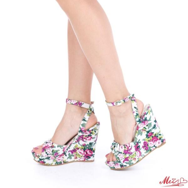 Sandale Dama cu Platforma 228-1 White Mei