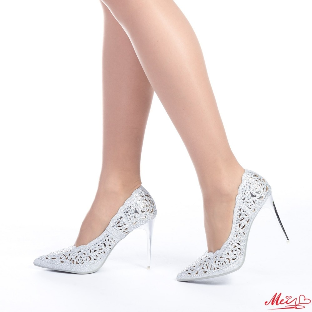 Pantofi cu Toc GE2 Silver Mei