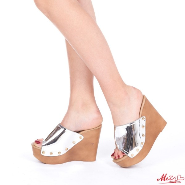 Papuci Dama cu Platforma GH101 Silver Mei