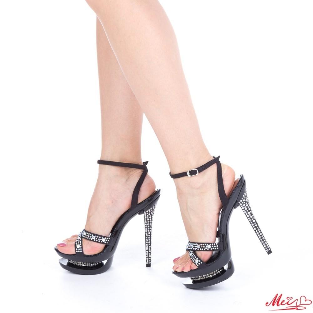 Sandale Dama cu Toc si Platforma GH15 Black Mei