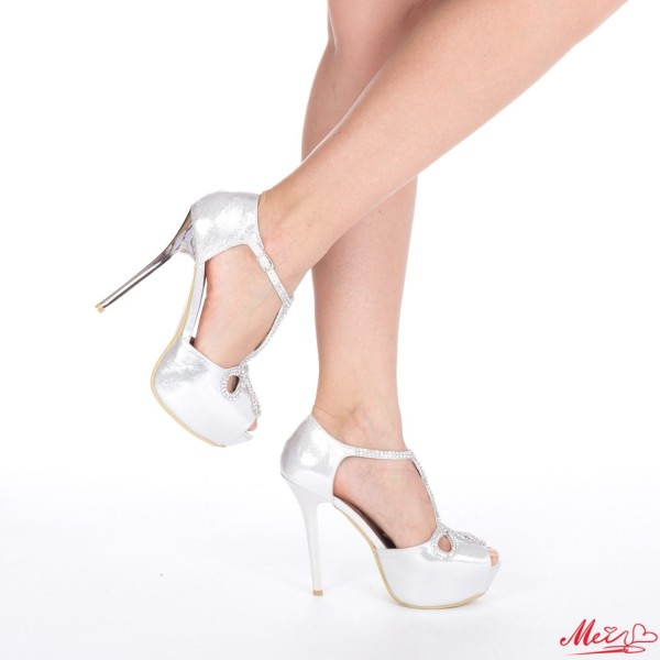 Sandale Dama cu Toc GH23 Silver Mei