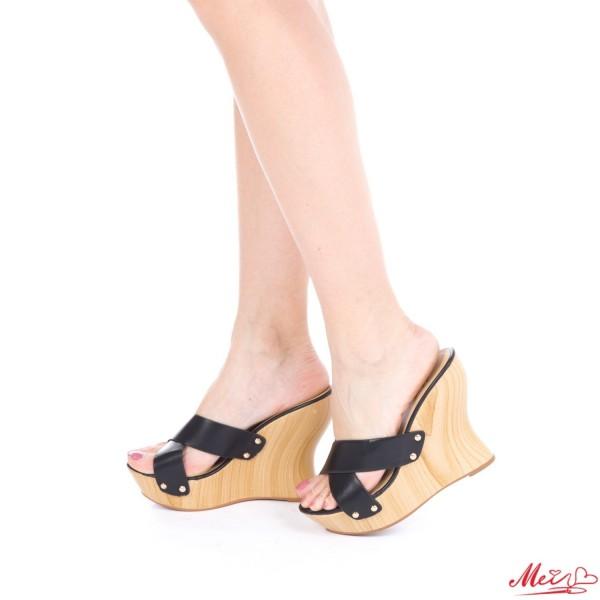 Papuci Dama cu Platforma GH26 Black Mei