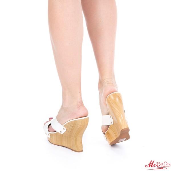 Papuci Dama cu Platforma GH26 White Mei