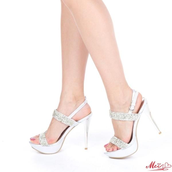 Sandale Dama cu Toc si Platforma GH28 Silver Mei