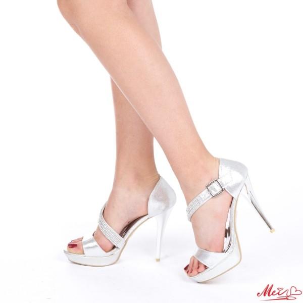 Sandale Dama cu Toc si Platforma GH29 Silver Mei