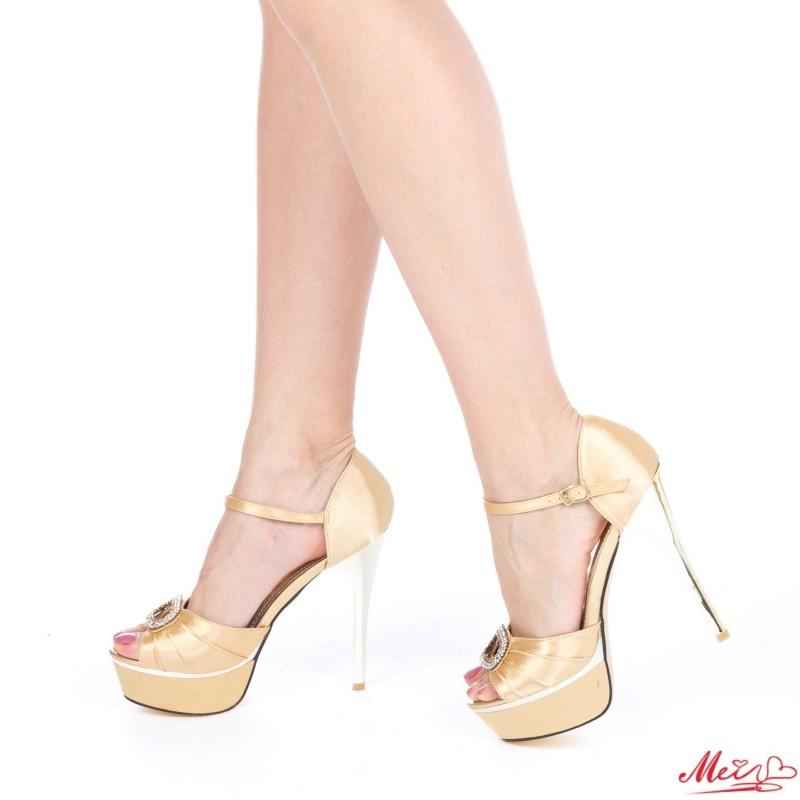 Sandale Dama cu Toc si Platforma GH9 Gold Mei