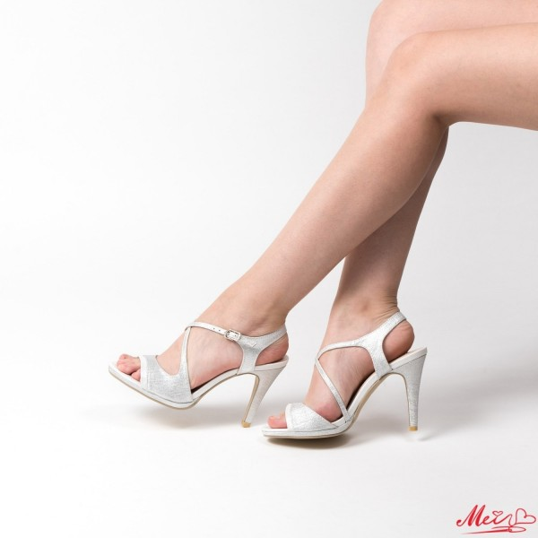 Sandale Dama cu Toc GH95 Silver Mei