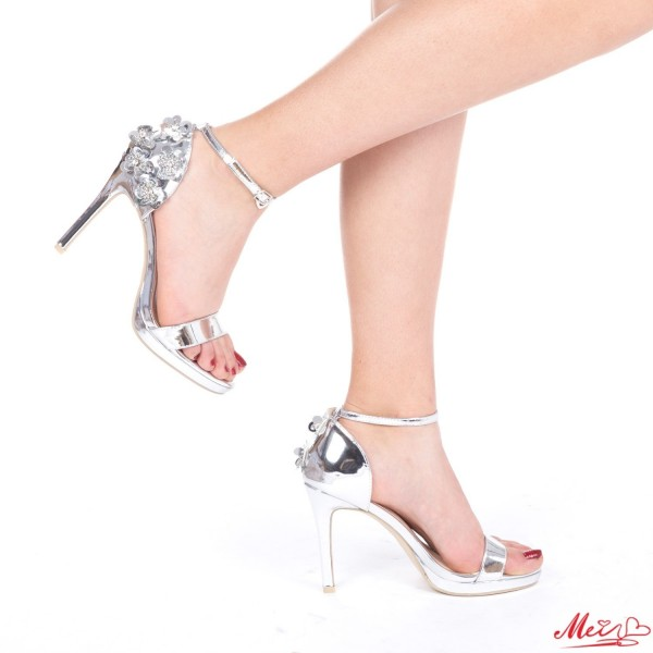 Sandale Dama cu Toc GH98 Silver Mei
