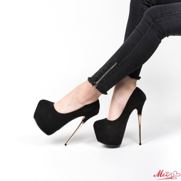 Pantofi cu Toc si Platforma GM10 Black Mei