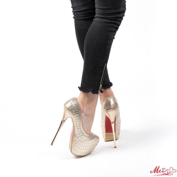 Pantofi cu Toc si Platforma GM13 Gold Mei