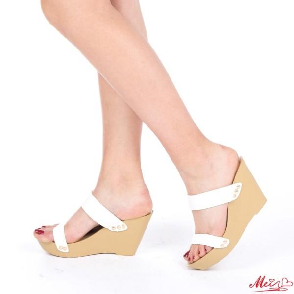Papuci Dama cu Platforma HL201 White Mei