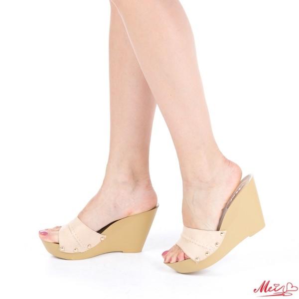 Papuci Dama cu Platforma HL206 Beige Mei
