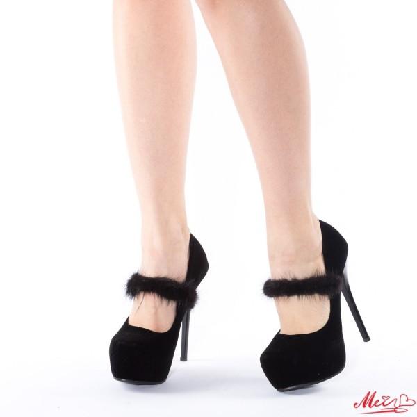 Pantofi cu Toc si Platforma HLX16 Black Mei
