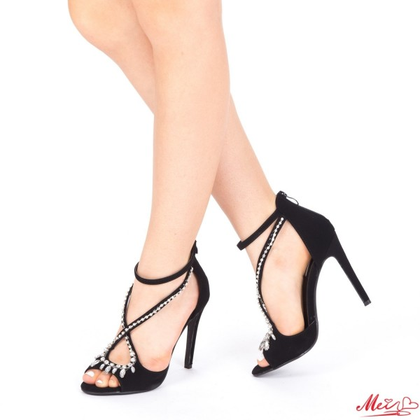 Sandale Dama cu Toc HLX55 Silver Mei