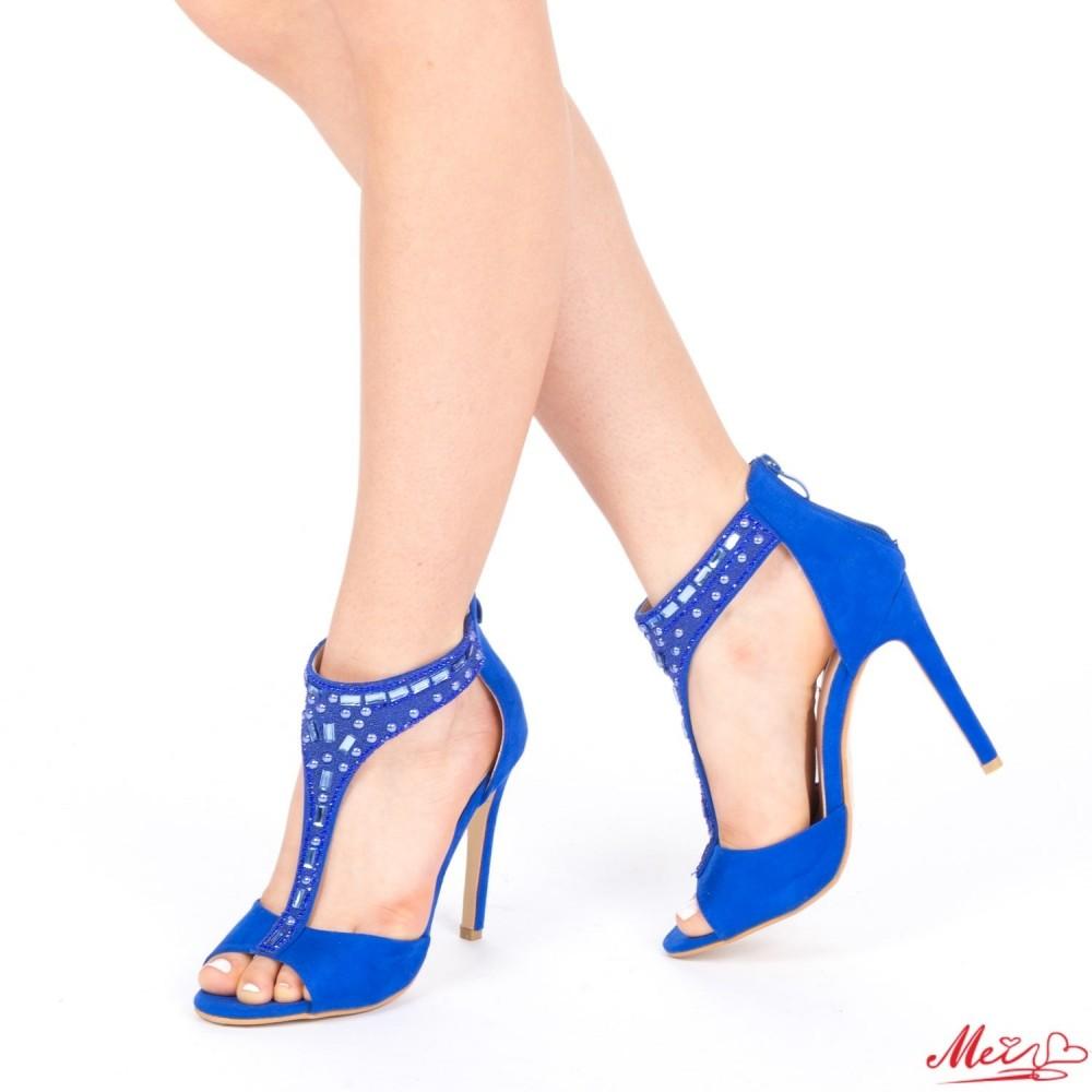 Sandale Dama cu Toc HLX56 Blue Mei
