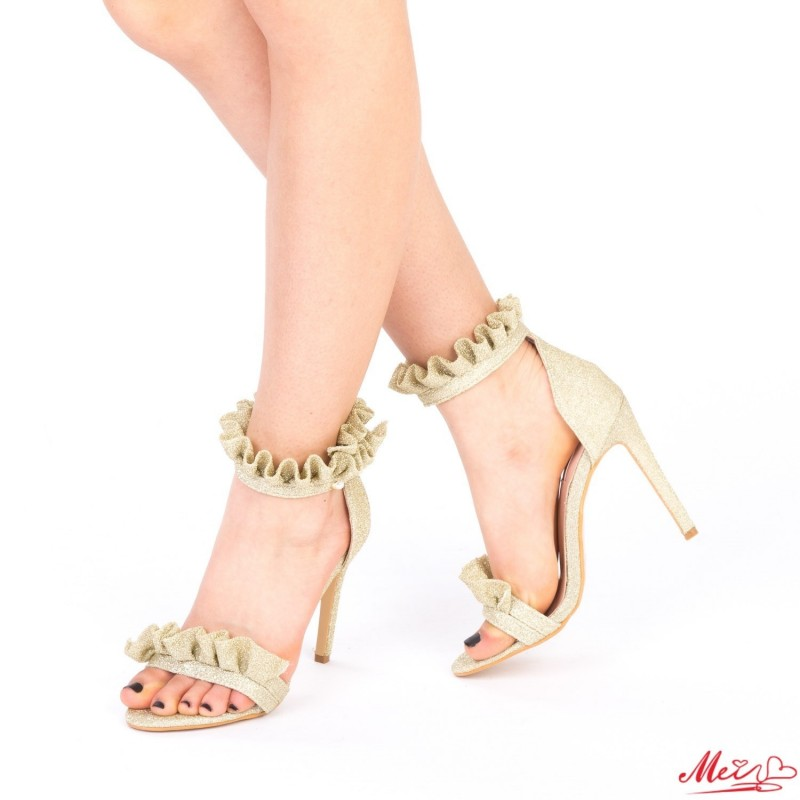 Sandale Dama cu Toc HLX68 Gold Mei