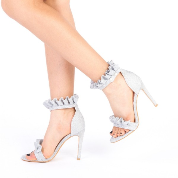 Sandale Dama cu Toc HLX68 Silver Mei