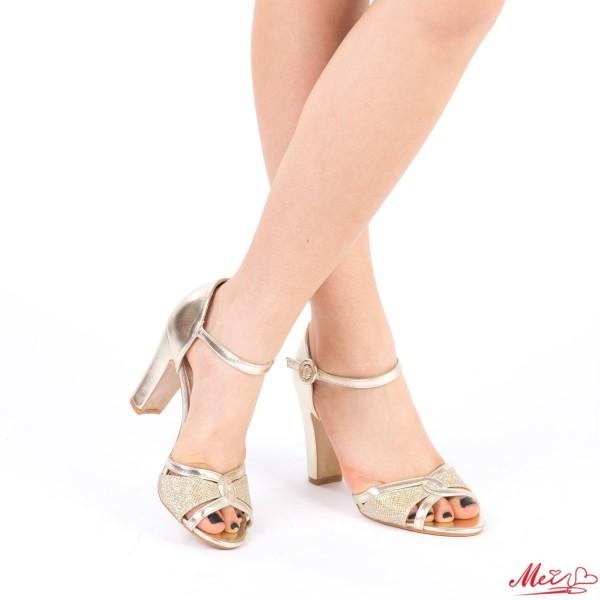 Sandale Dama cu Toc HX6 Gold Mei