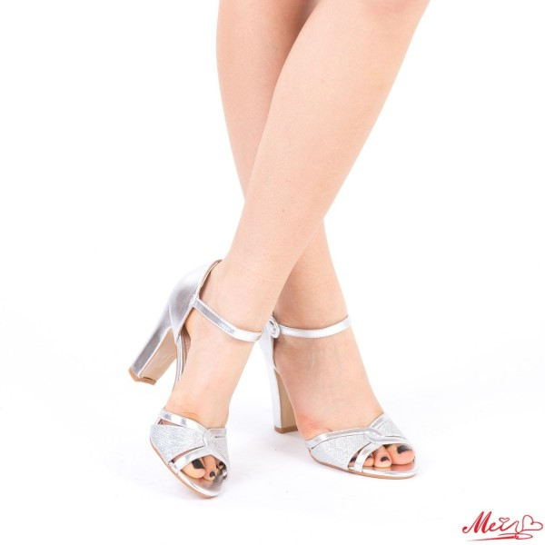 Sandale Dama cu Toc HX6 Silver Mei