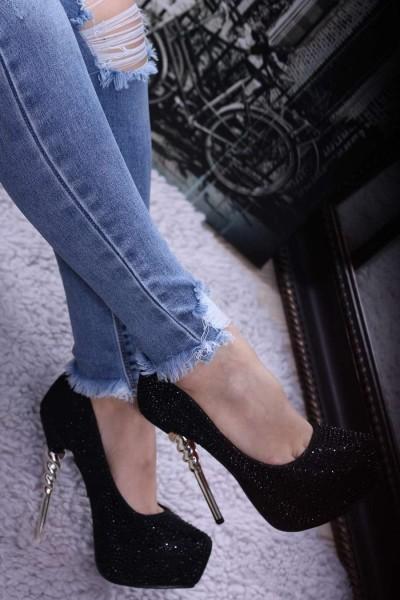 Pantofi cu Toc si Platforma HY12 Black Mei