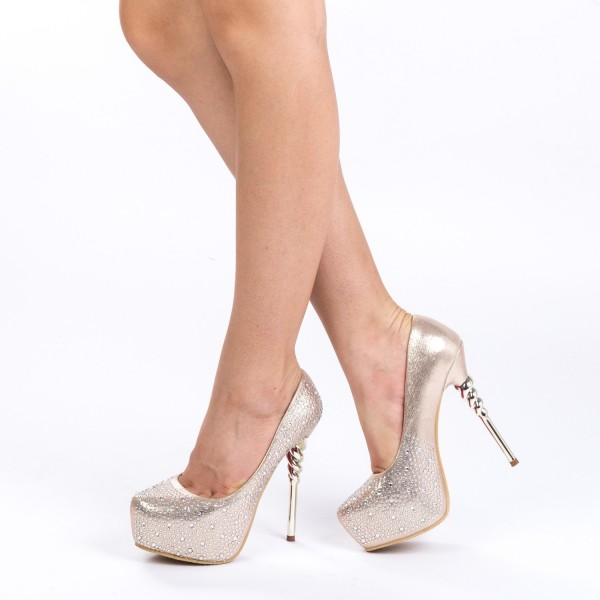 Pantofi cu Toc si Platforma HY12 Gold Mei
