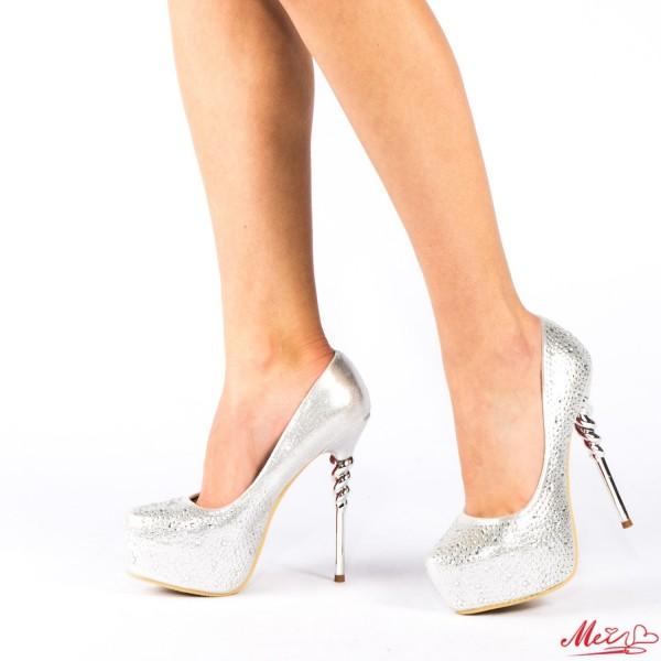 Pantofi cu Toc si Platforma HY12 Silver Mei
