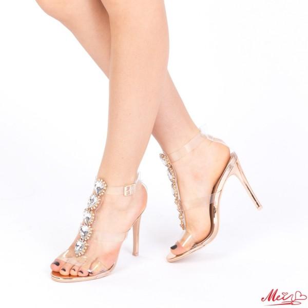 Sandale Dama cu Toc KNE7 Champagne Mei