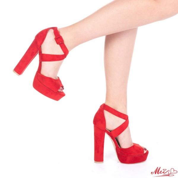 Sandale Dama cu Toc si Platforma LE167 Red Mei