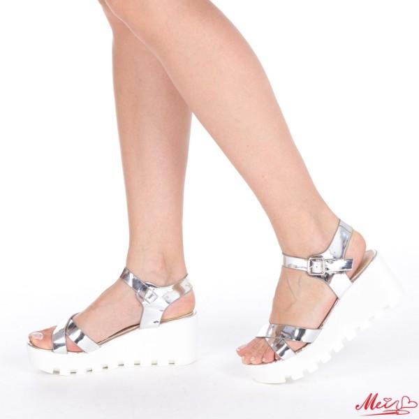 Sandale Dama cu Platforma LM116 Silver Mei