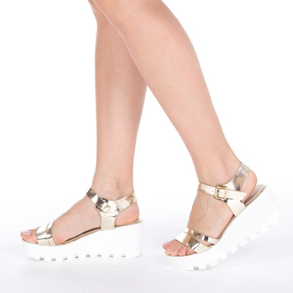 Sandale Dama cu Platforma LM118 Gold Mei