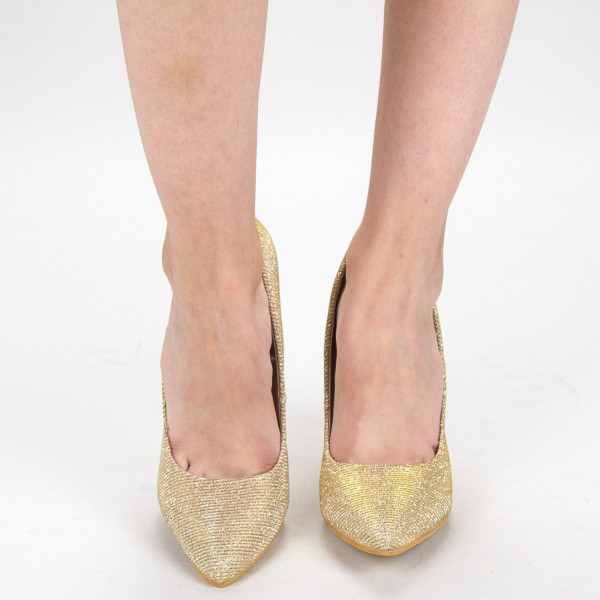 Pantofi cu Toc OL0143-1A Gold Mei