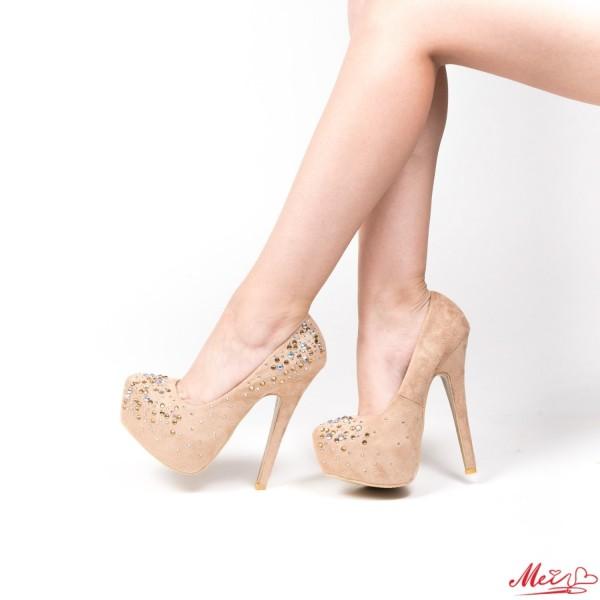 Pantofi cu Toc OL2500-1 Beige Mei