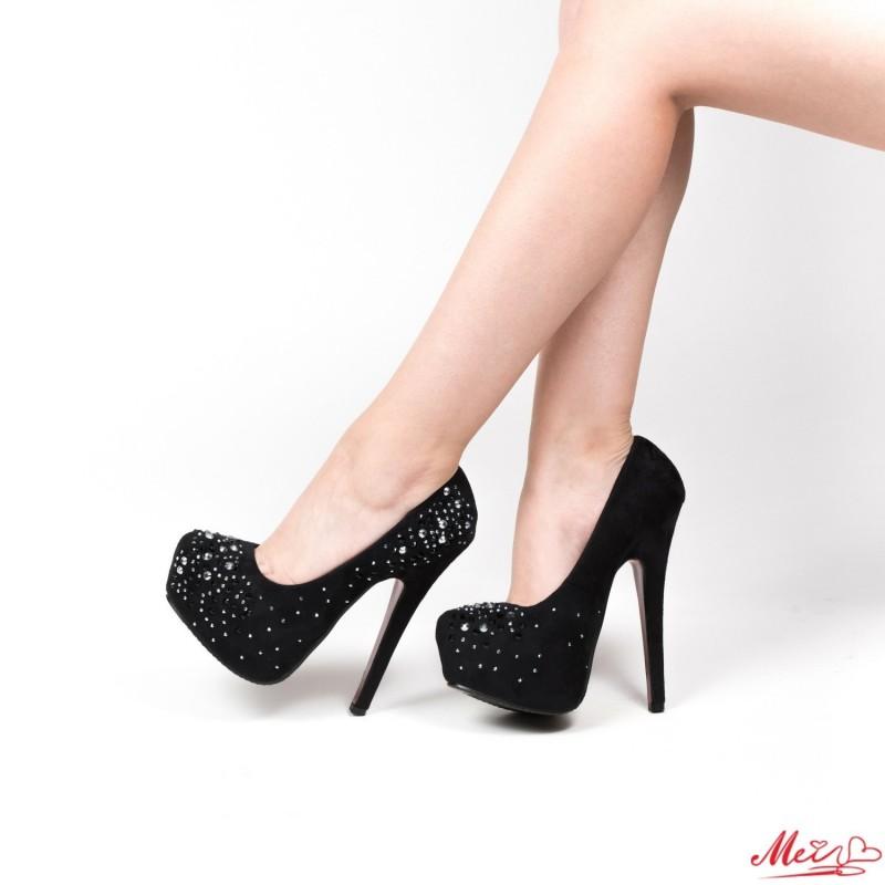 Pantofi cu Toc OL2500-1 Black Mei