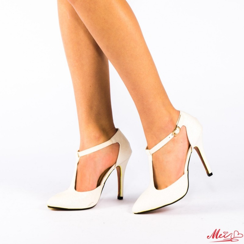 Pantofi cu Toc OLMD5-1 White Mei