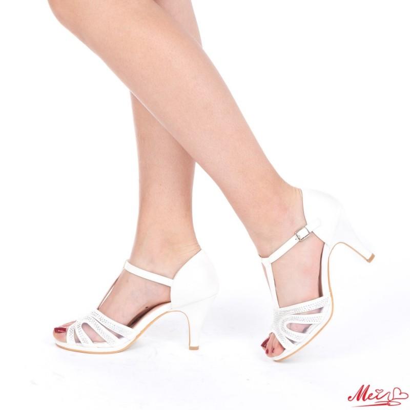Sandale Dama cu Toc QZL100 White Mei