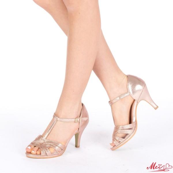 Sandale Dama cu Toc QZL100 Gold Mei