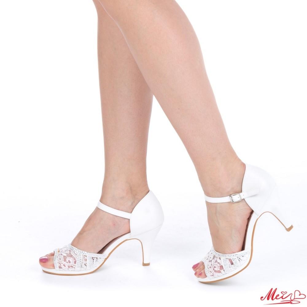 Sandale Dama cu Toc QZL101 White Mei