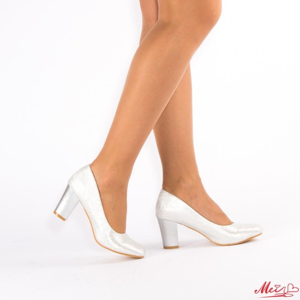 Pantofi cu Toc QZL130 Silver Mei