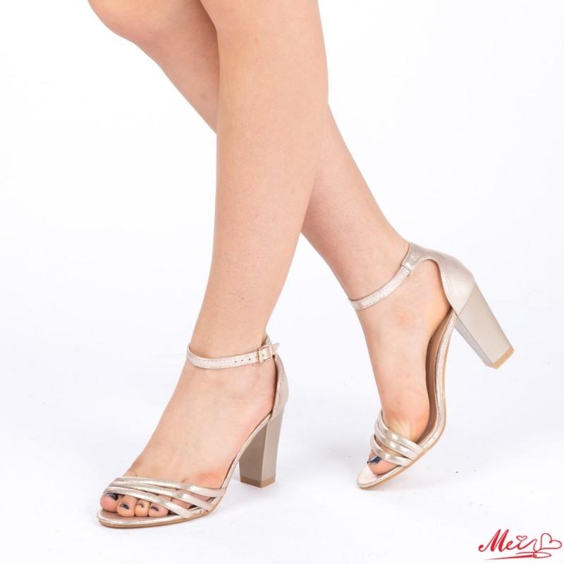 Sandale Dama cu Toc QZL139 Gold Mei