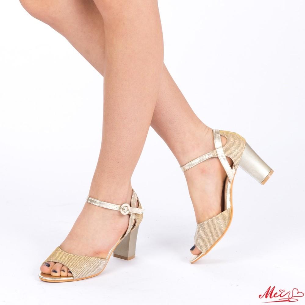Sandale Dama cu Toc QZL150 Gold Mei