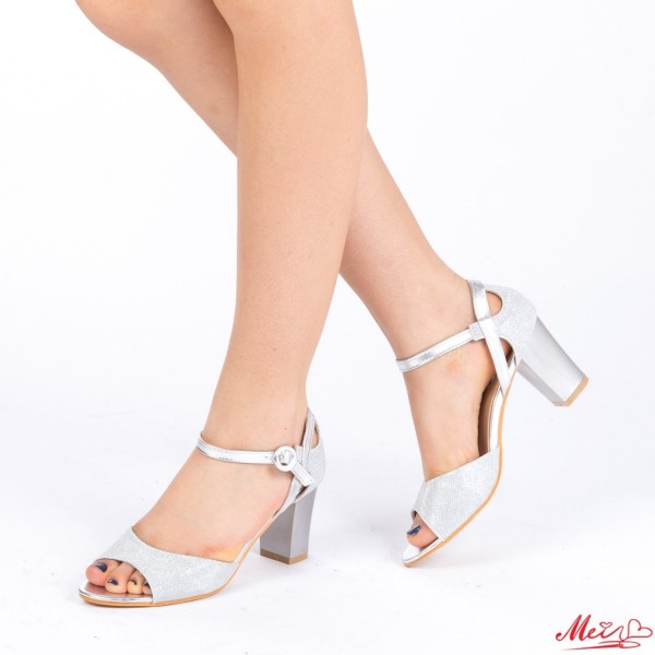 Sandale Dama cu Toc QZL150 Silver Mei