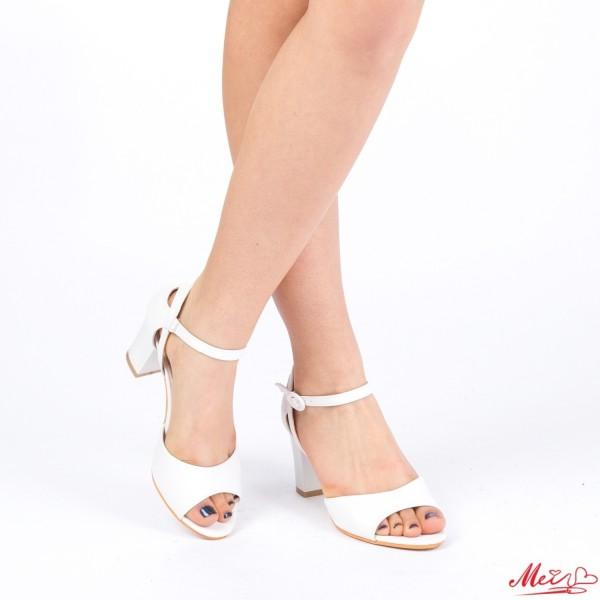 Sandale Dama cu Toc QZL150A White Mei