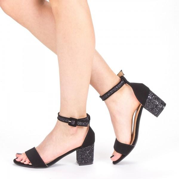 Sandale Dama cu Toc QZL152 Black Mei