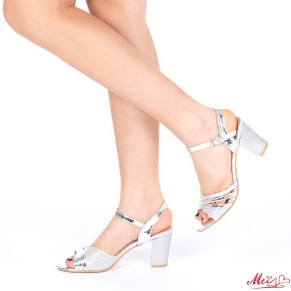 Sandale Dama cu Toc QZL156 Silver Mei